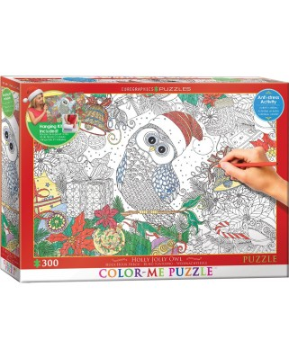 Puzzle de colorat Eurographics - Holly Jolly Owl, 300 piese XXL (56039)