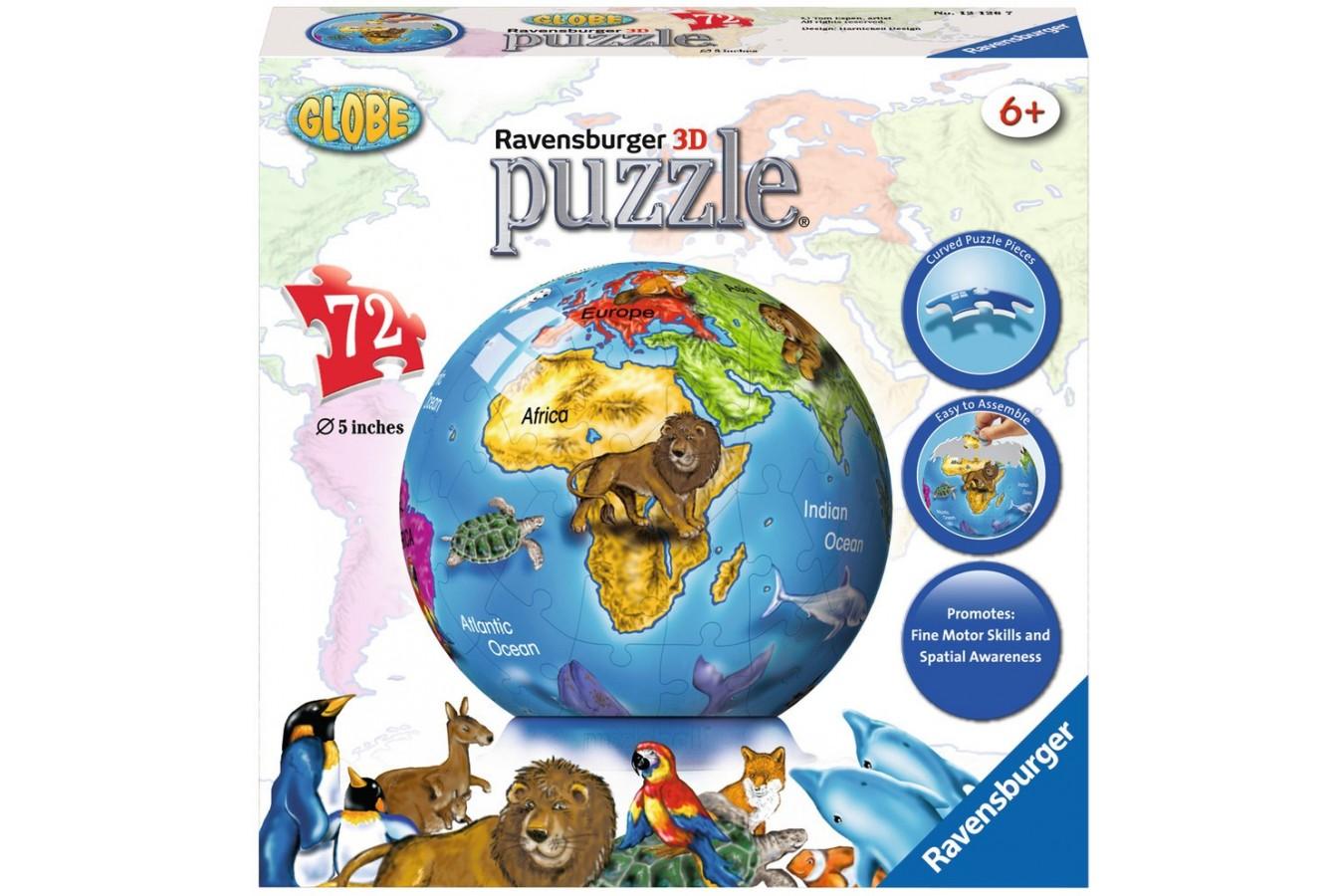 Puzzle glob Ravensburger - Globul Pamantesc, 72 piese (12126)