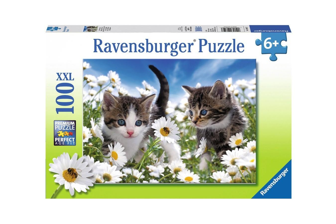 Puzzle Ravensburger - Pisicute Si Margarete, 100 piese (10612)