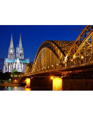 Puzzle Grafika - Cathedral and Hohenzollern Bridge - Cologne, 1.000 piese (52361)