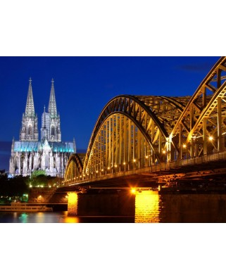 Puzzle Grafika - Cathedral and Hohenzollern Bridge - Cologne, 2.000 piese (52360)