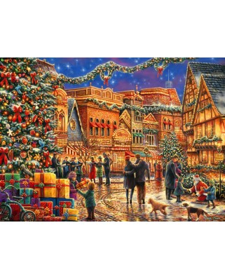 Puzzle Grafika - Chuck Pinson: Christmas at the Town Square, 300 piese (64552)