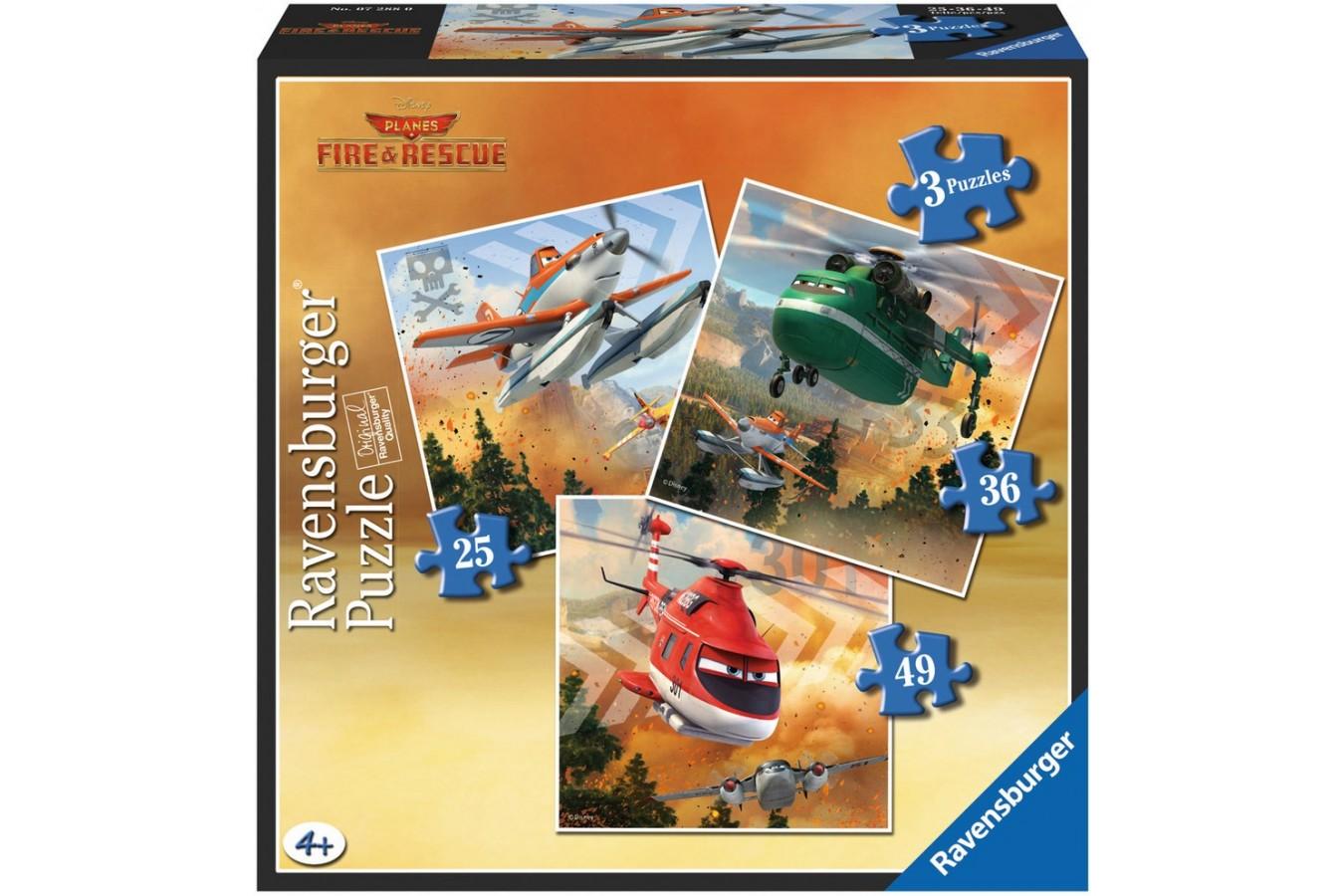 Puzzle Ravensburger - Planes Echipa De Salvare Impotriva Focului, 25/36/49 piese (07288)