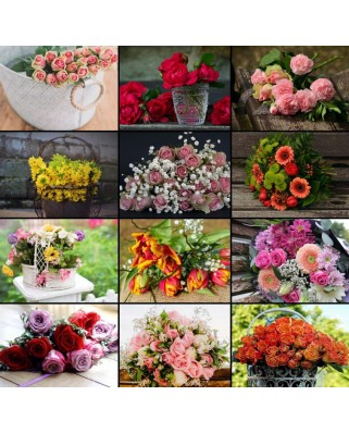 Puzzle Grafika - Collage - Flowers, 1500 piese (60973)