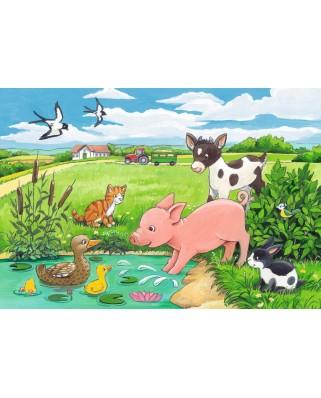 Puzzle Ravensburger - Animale La Ferma, 2x12 piese (07582)