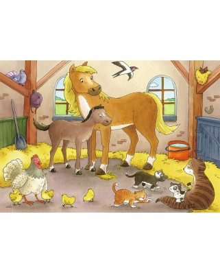Puzzle Ravensburger - Familii Animale, 2x12 piese (07590)
