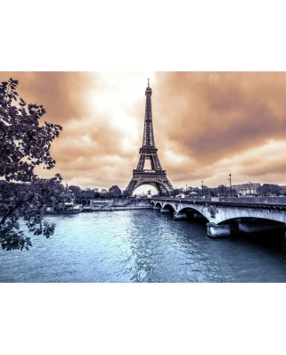 Puzzle Grafika - Eiffel Tower from Seine. Winter rainy day in Paris, 2.000 piese (52338)