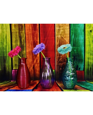 Puzzle Grafika - Flowered and Colorful Vases, 300 piese (63468)