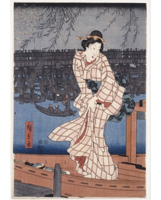 Puzzle Grafika - Hiroshige Utagawa: Evening on the Sumida River, 1847-1848, 1.000 piese (49742)