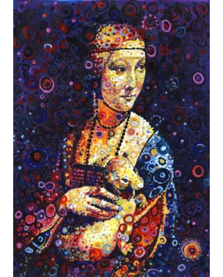 Puzzle Grafika - Leonardo Da Vinci: Lady with an Ermine, by Sally Rich, 500 piese (63602)
