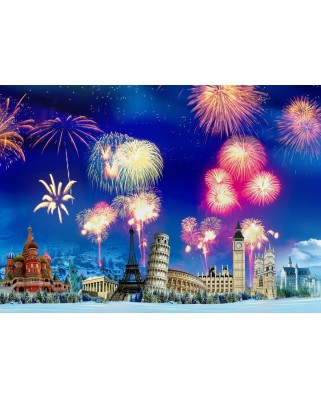 Puzzle Grafika - New Year's Eve around the World, 1.000 piese (63492)