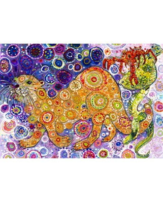 Puzzle Grafika - Sally Rich: Otters Catch, 1500 piese (63626)