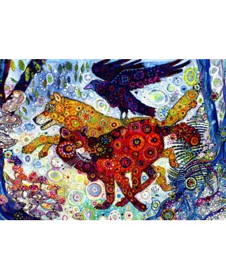 Puzzle Grafika - Sally Rich: Wolves in a Blue Wood, 500 piese (63594)