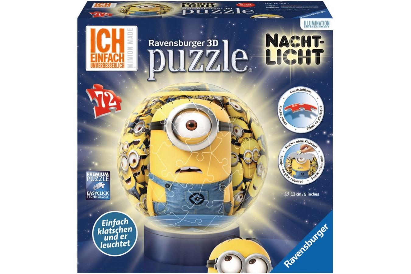 Puzzle glob Ravensburger - Minions Cu Lumina 72, 72 piese (12168)