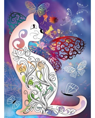 Puzzle Grafika - The Cat with the Butterflies, 2.000 piese (54887)
