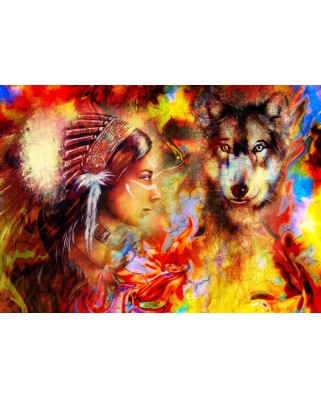 Puzzle Grafika - The Indian Woman and the Wolf, 1.000 piese (62002)