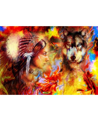 Puzzle Grafika - The Indian Woman and the Wolf, 1.500 piese (62001)