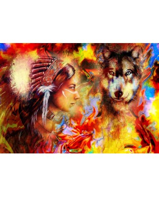 Puzzle Grafika - The Indian Woman and the Wolf, 3.900 piese (61995)