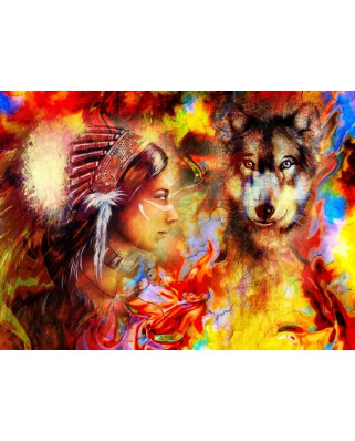 Puzzle Grafika - The Indian Woman and the Wolf, 300 piese (61998)