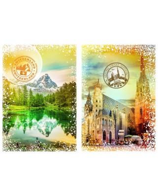 Puzzle Grafika - Travel around the World - Austria and Switzerland, 2000 piese (59094)