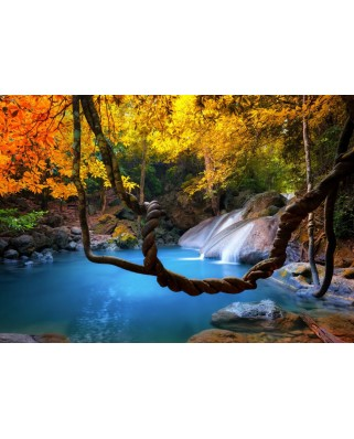 Puzzle Grafika - Waterfall in Forest, 1.000 piese (55259)