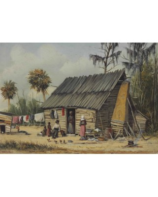 Puzzle Grafika - William Aiken Walker: A Cabin Scene with Washing on, 1.000 piese (46100)