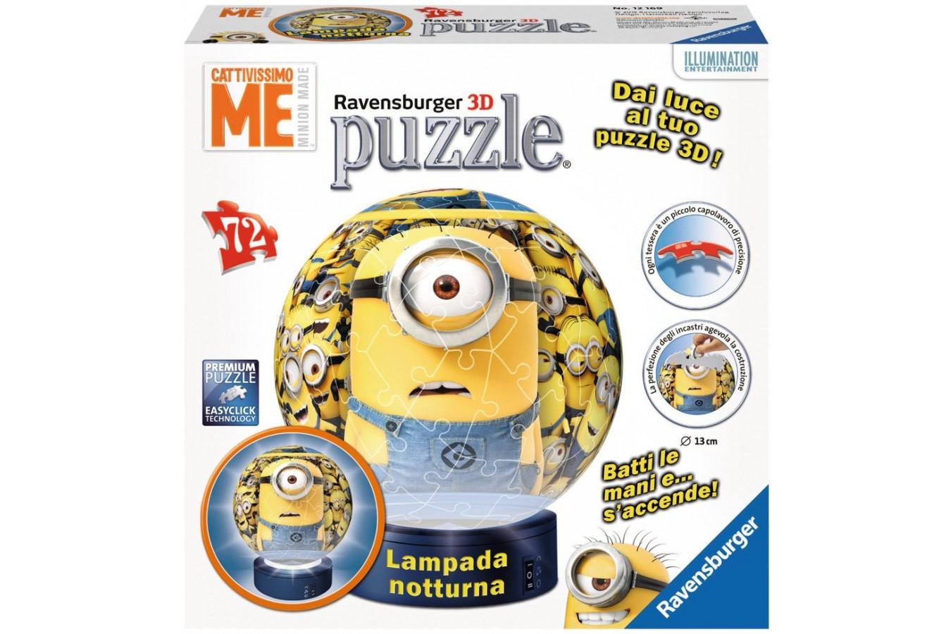 Puzzle glob Ravensburger - Minions Cu Lumina, 72 piese (12169)