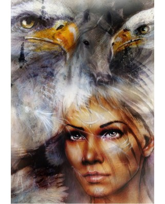 Puzzle Grafika - Woman, Eagle and Horse, 1000 piese (49784)