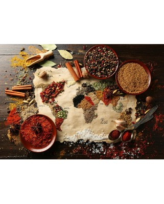 Puzzle Grafika - World map in Spices, 1.000 piese (55539)