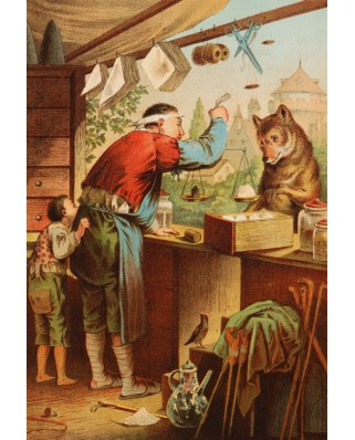 Puzzle Grafika Kids - Carl Offterdinger: The Wolf and the Seven Young Kids, illustration, 12 piese XXL (49349)