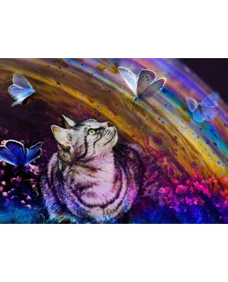 Puzzle Grafika Kids - Cat and Butterflies, 300 piese (63460)