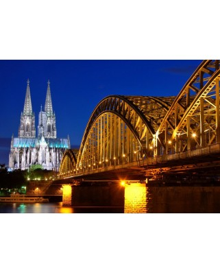 Puzzle Grafika Kids - Cathedral and Hohenzollern Bridge - Cologne, 100 piese (52363)