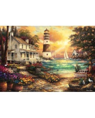 Puzzle Grafika Kids - Chuck Pinson: Cottage by the Sea, 100 piese (62041)