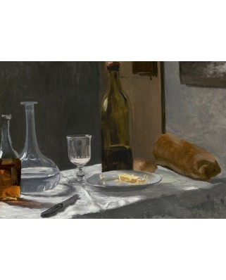 Puzzle Grafika Kids - Claude Monet: Still Life with Bottle, Carafe, Bread, and Wine, 1863, 100 piese (55198)