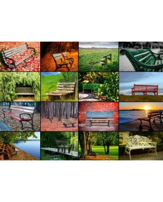 Puzzle Grafika Kids - Collage - Benches, 300 piese (54815)