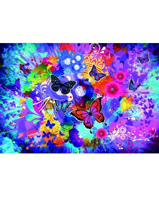 Puzzle Grafika Kids - Colorful Flowers and Butterflies, 100 piese (62113)