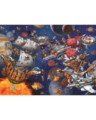 Puzzle Grafika Kids - Francois Ruyer: Space Battle, 300 piese (64539)