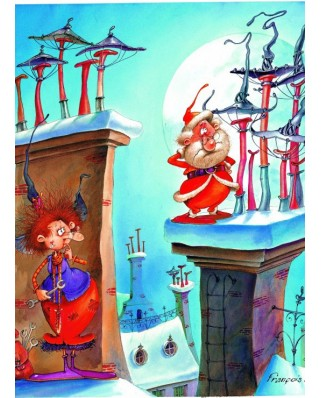 Puzzle Grafika Kids - Francois Ruyer: The Witch and Santa Claus, 300 piese (58480)