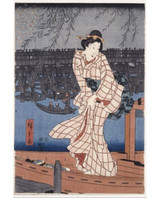Puzzle Grafika Kids - Hiroshige Utagawa: Evening on the Sumida River, 1847-1848, 100 piese (49753)