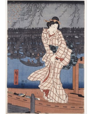 Puzzle Grafika Kids - Hiroshige Utagawa: Evening on the Sumida River, 1847-1848, 24 piese (49750)