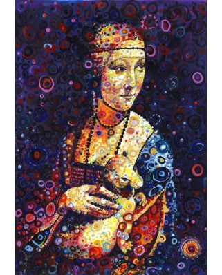 Puzzle Grafika Kids - Leonardo Da Vinci: Lady with an Ermine, by Sally Rich, 100 piese (63598)