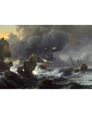 Puzzle Grafika Kids - Ludolf Backhuysen: Ships in Distress off a Rocky Coast, 1667, 100 piese (56254)