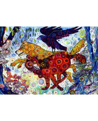 Puzzle Grafika Kids - Sally Rich: Wolves in a Blue Wood, 100 piese (63590)