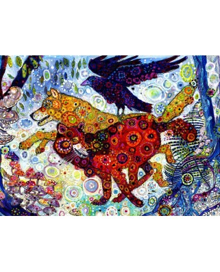 Puzzle Grafika Kids - Sally Rich: Wolves in a Blue Wood, 300 piese (63589)