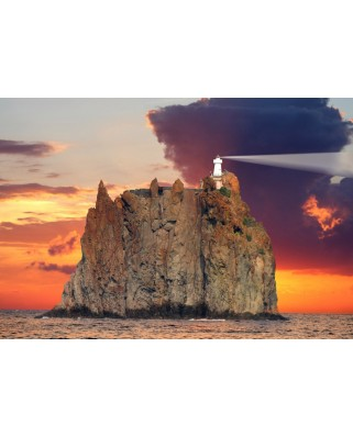 Puzzle Grafika Kids - Stromboli Lighthouse, Italy, 12 piese XXL (52387)