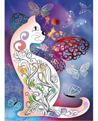 Puzzle Grafika Kids - The Cat with the Butterflies, 300 piese (54885)