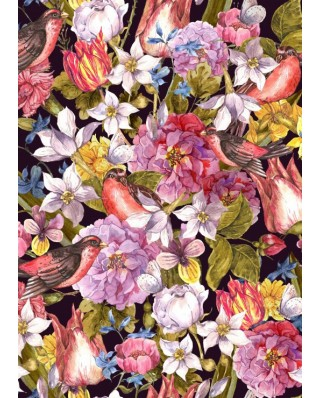 Puzzle magnetic Grafika Kids - Vintage Flowers and Birds, 24 piese (55702)