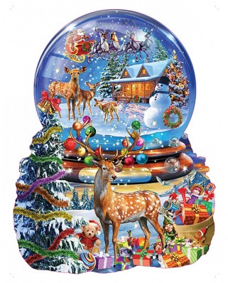 Puzzle contur SunsOut - Adrian Chesterman: Christmas Snow Globe, 1.000 piese (64436)