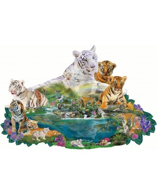 Puzzle contur SunsOut - Alixandra Mullins: Tigers at the Pool, 1.000 piese (64412)