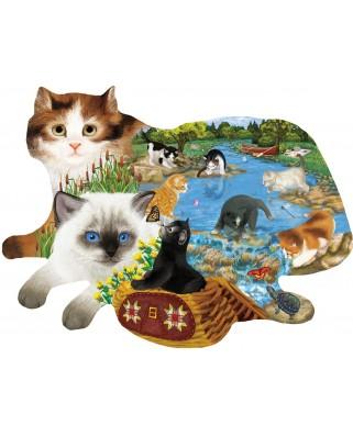 Puzzle contur SunsOut - Ashley Davis: Fishing Kittens, 1.000 piese (64443)